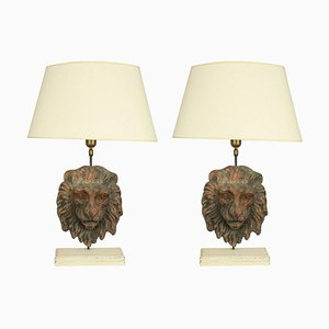 Antique Table Lamps with Terracotta Lion Masks, Set of 2