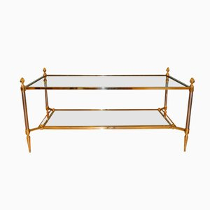 Glass and Brass Coffee Table by Maison Jansen