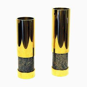 Norwegische Vasen aus Messing & Steingut von Saulo AS für Sulitjelma AS, Norwegen, 1970er, 2er Set