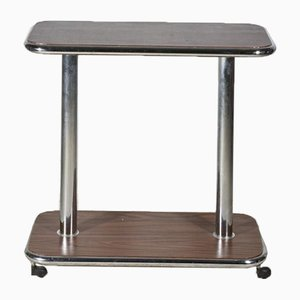 Italian Trolley Table in Wood and Chromed Steel, 1980s