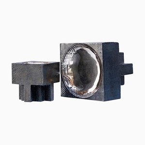 Bronze Überkreuztöpfe von Arno Declercq, 2er Set