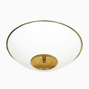 Large White Opaline Glass Shade & Brass Ceiling Lamp, 1970s