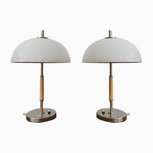 Lámparas de mesa Mid-Century blancas. Juego de 2