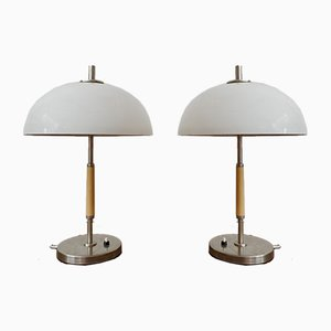 Mid-Century White Table Lamps, Set of 2