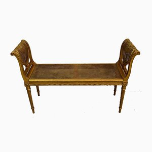 Small Louis XVI Style Bench in Gilded Wood and Cannage, 1900s