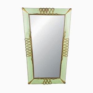 Italian Aquamarine Perforated Metal & Brass Wall Mirror, 1940s