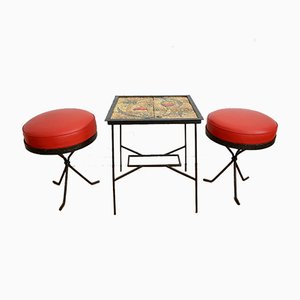 Hungarian Ceramic Side Table & Red Stools, 1969, Set of 3