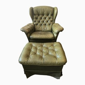 Vintage English Style Fine Patinated Green Leather Armchair & Footstool, Set of 2