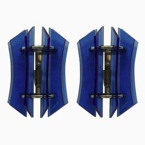 Blaue Glas Wandleuchten von Veca, 1950er, 2er Set