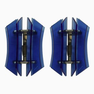 Blue Glass Sconces from Veca, 1950s, Set of 2