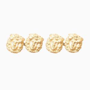 Gemelos de oro amarillo, años 80. Juego de 2