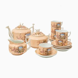 Antique Porcelain Coffee Service Set, Set of 15