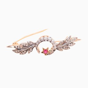Vintage Gold & Silver Diamonds Brooch