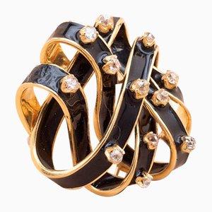 Broche Vintage en Émail Doré avec Diamants