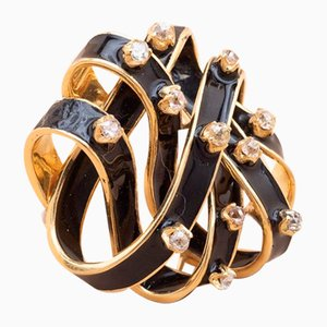 Spilla vintage smaltata color oro con diamanti