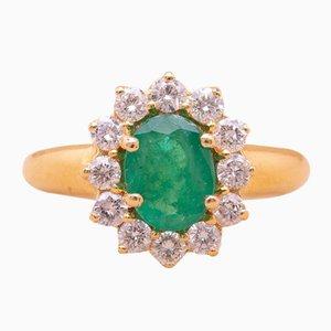 Anillo vintage en verde esmeralda