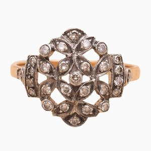 Anello Jenny antico in argento dorato e diamanti