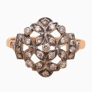 Anillo antiguo de oro y plata con diamantes de Jenny