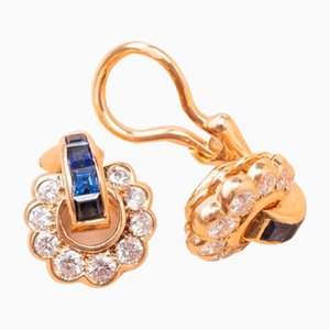 Diamond and Gold Sapphire Martine Clips, 1970s, Set of 2