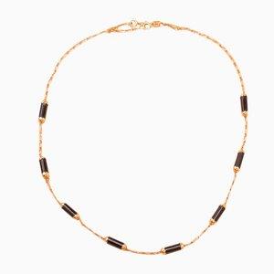 Halskette in Gold und Onyx, 1970er