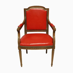 Louis XVI Style Armchair In Red Leather