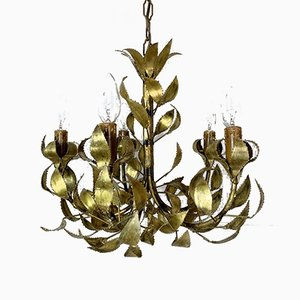 Lámpara de araña Mid-Century con hojas de latón de Maison Jansen, años 60