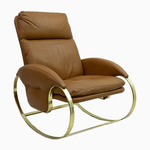 Leather Rocking Chair by Guido Faleschini, 1970s