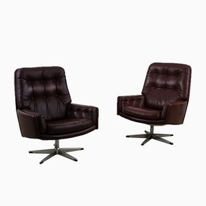 Mid-Century Danish Modern Brown Leather Swivel Armchair from Farstrup Møbler, 1960s