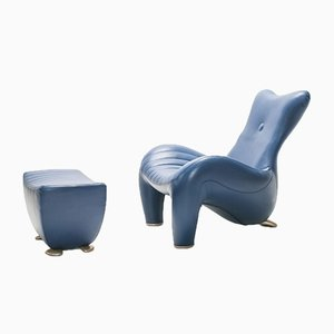 Lounge Chair & Ottoman by Jane Worthington for Leolux, 1990s, Set of 2