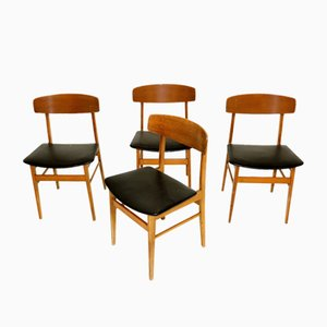 Sedie da pranzo in teak e faggio, anni '60, set di 4