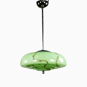 Vintage Ceiling Lamp with Marble Glass Shade from EBA