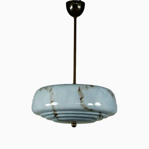 Art Deco Ceiling Lamp with Marble Glass Shade, 1940s