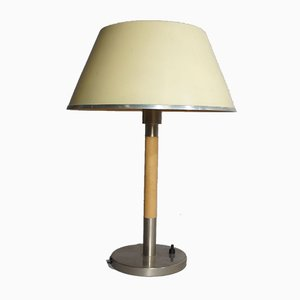 Table Lamp in Metal & Inner Shade in Glass by Harald Elof Notini for Böhlmarks, Sweden, 1930s