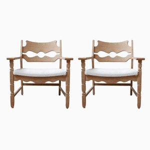 Danish Oak Armchairs by Henning Kjærnulf, 1960s, Set of 2