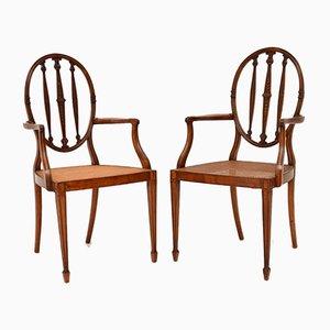 Butacas antiguas de madera satinada con asiento de caña. Juego de 2