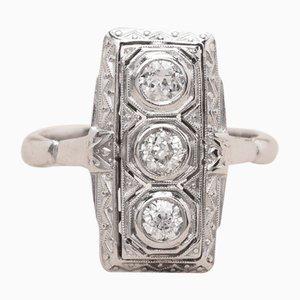 Anillo Zelda vintage de oro y diamantes de platino