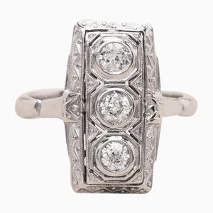 Vintage Platinum Gold and Diamond Zelda Ring