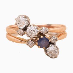 Anillo Albertine de oro y diamantes, años 20