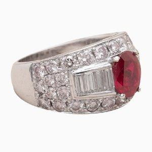 Anello Aissa vintage con rubini a forma di diamante