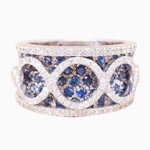 Anello vintage con diamanti e zaffiro