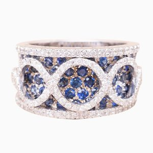 Vintage Sapphire and Diamond Headband Ring