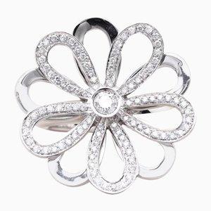 Anello vintage floreale in oro e diamanti