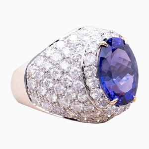 Anello vintage in diamanti color tanzanite e oro bianco