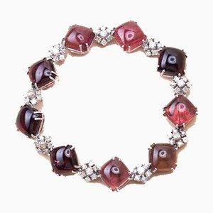 Bracelet Cabochons Vintage Tourmaline en Or et Diamant