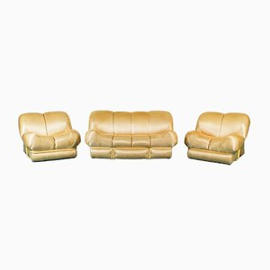 Vintage Satin Gold Fabric Sofa & Armchairs Set, 1970s, Set of 3