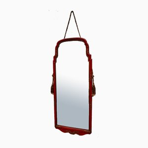Antique Red Lacquer Chinoiserie Mirror
