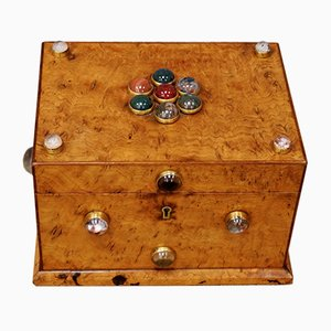 Victorian Sycamore Cabochon Stationary Box from Hart & Son London