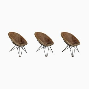 Rattan Lounge Chairs, 1950s, Set of 3