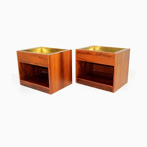 Rosewood & Metal Planters, 1960s, Set of 2