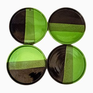 Italian Ceramic Plates in the Style of Ettore Sottsass, 1970s, Set of 5